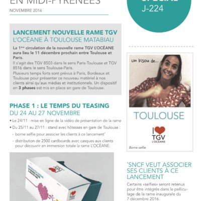 Newsletter TGV l'Océane, diffusion interne - 2016
