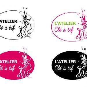 Création et déclinaison couleur d'un logo pour un Atelier de coiffure à domicile.