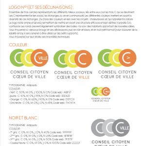 Proposition d'un logo pour le Conseil Citoyen Coeur de Ville de Montauban. Exemple de début de charte graphique.