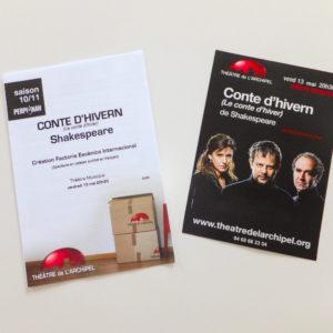 Création de flyers pour une pièce de théâtre Conte d'hiver de Shakespeare